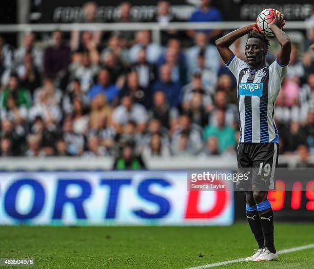 Massadio Haidara of Newcastle throws the ball into play during the Barclays Premier League match between Newcastle United and Southampton at StJames...