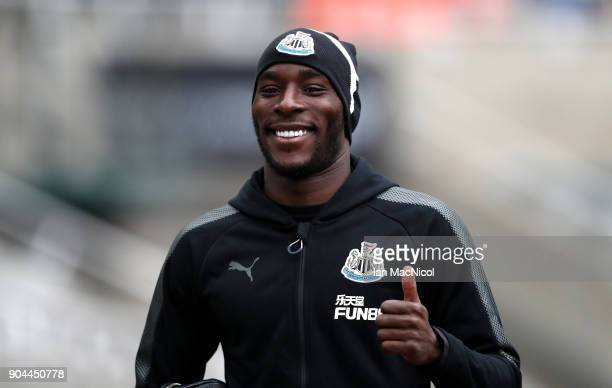Massadio Haidara of Newcastle United arrives at the stadium prior to the Premier League match between Newcastle United and Swansea City at St James...