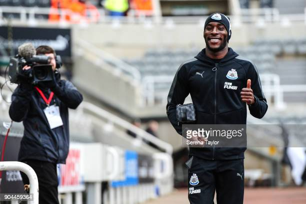 Massadio Haidara of Newcastle United arrives for the Premier League match between Newcastle United and Swansea City at StJames' Park on January 13 in...