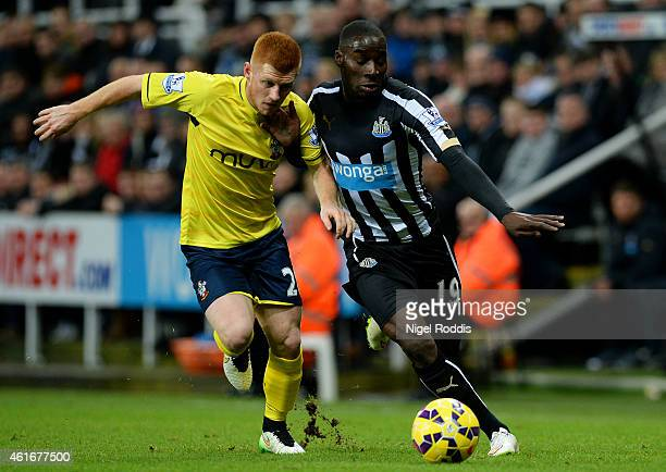 Massadio Haidara of Newcastle United battles for the ball with Harrison Reed of Southampton during the Barclays Premier League match between...