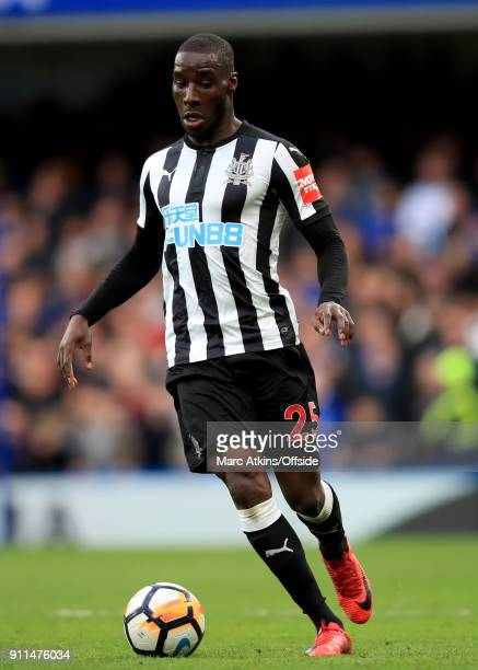Massadio Haidara of Newcastle United during the FA Cup 4th Round match between Chelsea and Newcastle United at Stamford Bridge on January 28, 2018 in...