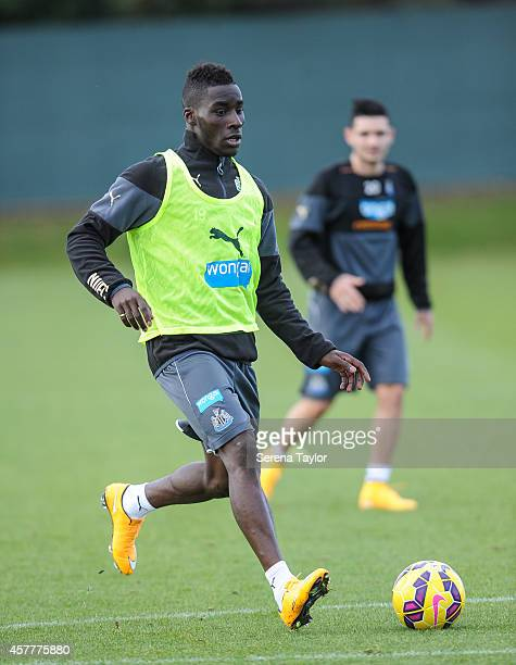 Massadio Haidara runs with the ball during a training session at The Newcastle United Training Centre on October 24 in Newcastle upon Tyne England