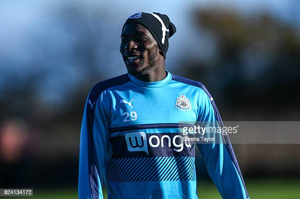 Massadio Haidara smiles during Newcastle United Training Session at The Newcastle United Training Centre on November 18 2016 in Newcastle upon Tyne...