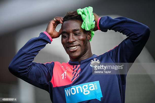 Massadio Haidara smiles whilst holding his hands on his head during the Newcastle United Training session at The Newcastle United Training Centre on...