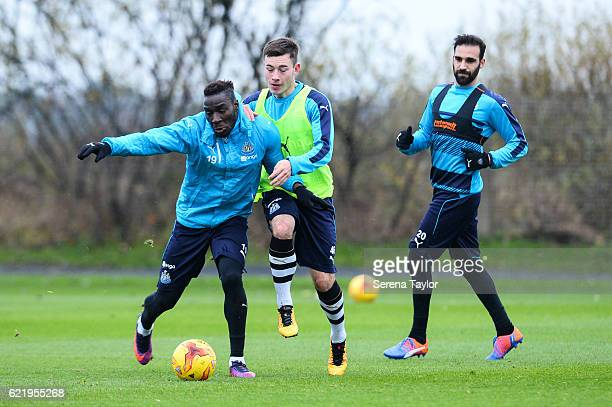 Massadio Haidara wins the ball from U23 player Callum Roberts during The Newcastle United Training Session at The Newcastle United Training Centre on...