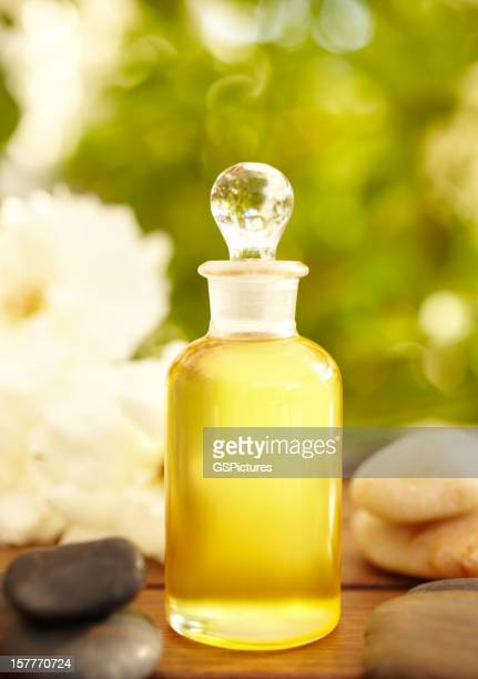 Massage oil and bottles at spa