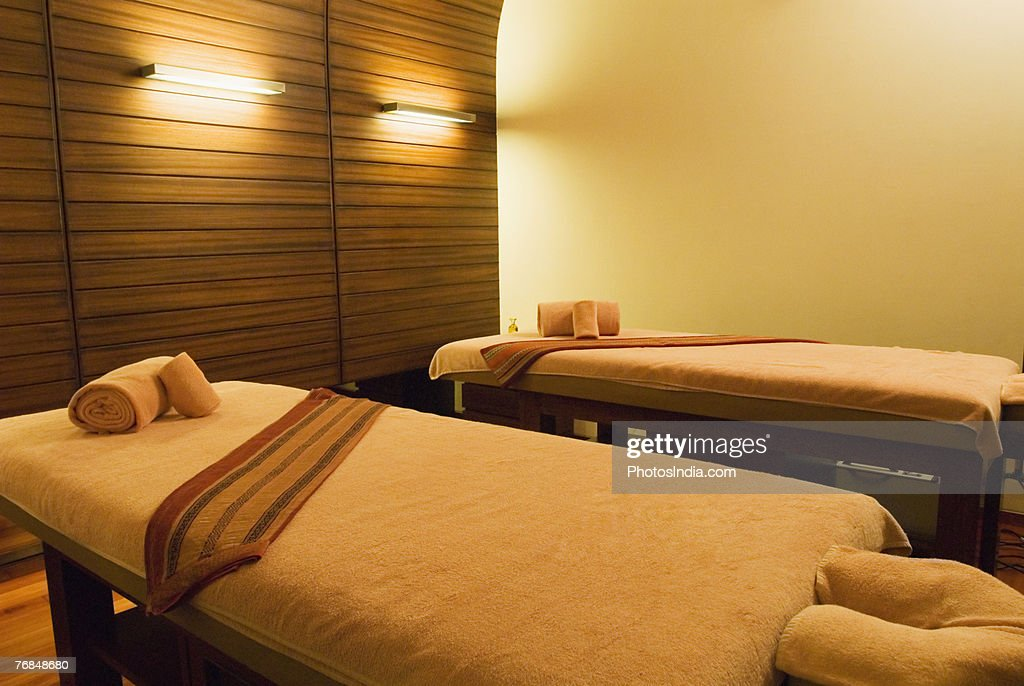 Massage tables in a spa : Stock Photo