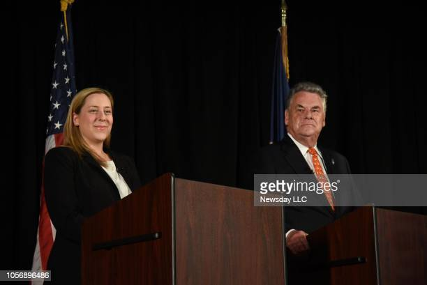 Republican incumbent Peter King and his Democratic challenger Liuba Grechen Shirley held a televised debate in Massapequa New York on Oct 18 2018