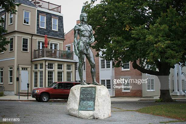 massasoit great indian chief  statue, plymouth, massachusetts. - plymouth massachusetts stock photos and pictures