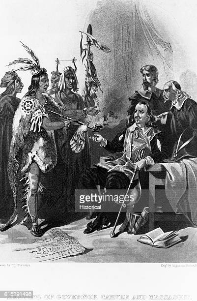 Massasoit meets with Governor John Carver while other North American men stand nearby Carver was the first governor of the Plymouth colony in 1620...