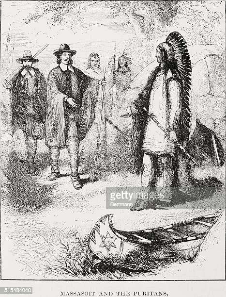 Massasoit the Wampanoag Indian chief who maintained peaceful relations with the English in the area of Plymouth Massachusetts visits the Puritans