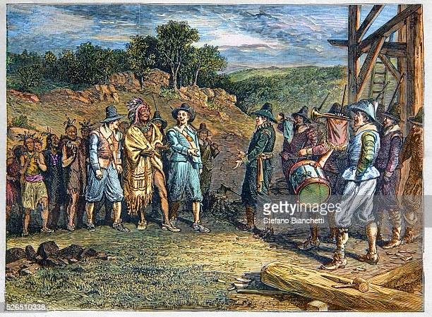 Massasoit the Wampanoag Indian chief who maintained peaceful relations with the English in the area of Plymouth Massachusetts visits the Pilgrims