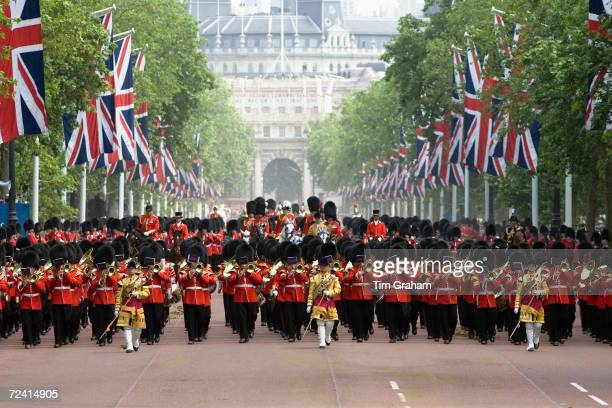 Massed bands of the Household Division at Trooping The Colour parade, London, United Kingdom.