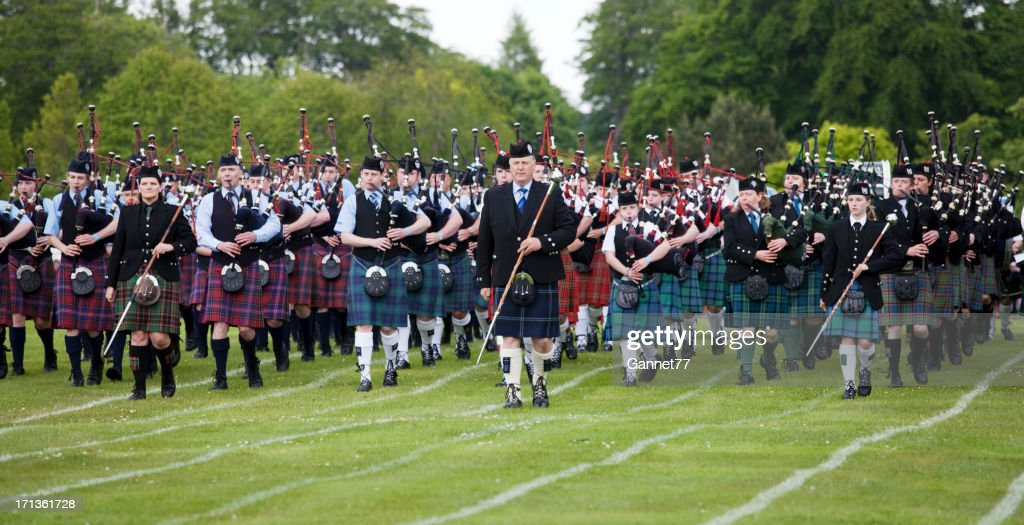 Massed Pipe Band at Aberdeen Highland Games : Stock Photo