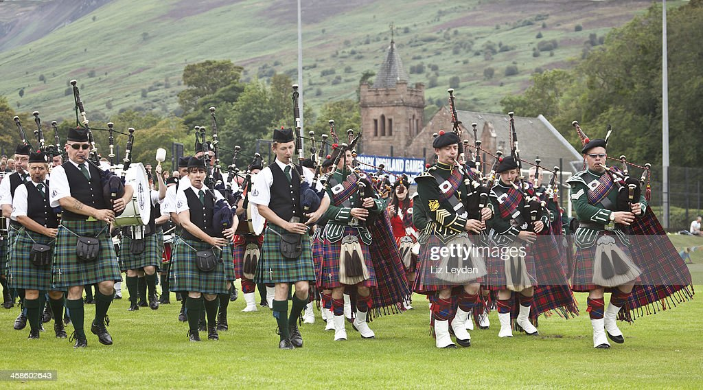 Massed Pipe Bands at Brodick Highland Games, Arran. : Stock Photo