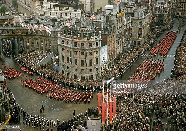 Massed troops in the procession marking the Coronation of Queen Elizabeth II in London on 2nd June 1953