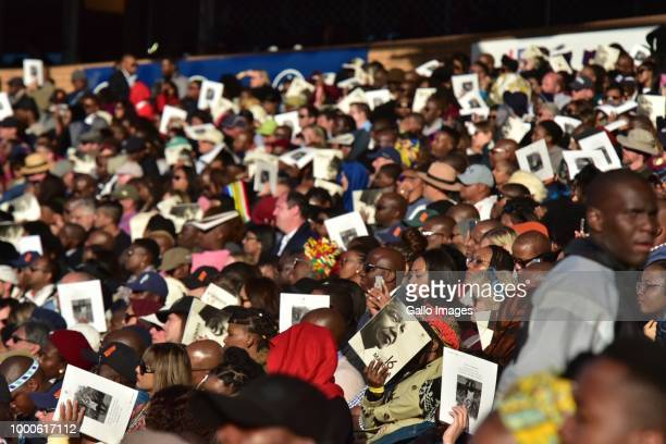 Masses gather during the 16th annual Nelson Mandela lecture at Wanderers Stadium on July 17 2018 in Johannesburg South Africa The lecture in...