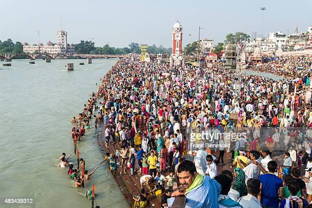 HARIDWAR UTTARAKHAND INDIA Masses of pilgrims are gathering for bathing at Harki Pauri Ghat at the holy river Ganges
