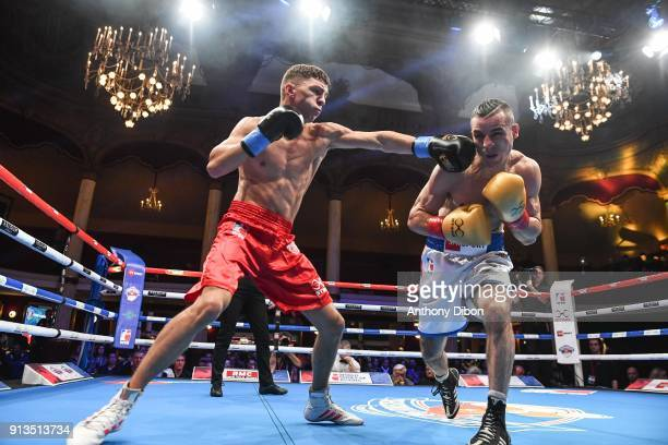 Massi Tachour vs Luke McCormack during World Series of Boxing event between Fighting Roosters and British Lionhearts at Salle Wagram on February 2...