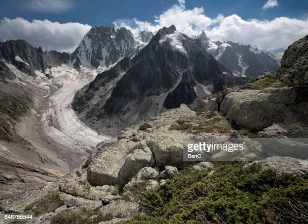massif du mont blancs, haute savoie, french alps, france, europe - valle blanche fotografías e imágenes de stock