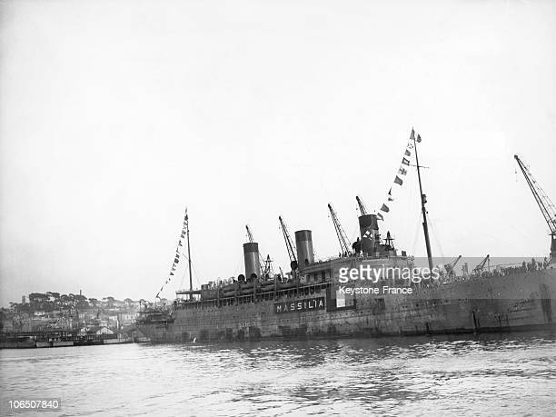 Massilia Ship In The Harbor Of Marseille Before Leaving On June 19 1940 On The Day After The Ship Loaded 27 French Parliamentaries Who Refused To...