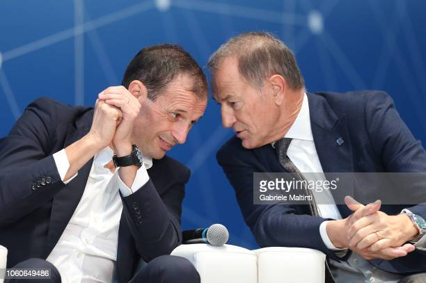 Massimiliano Allegri and Gianni De Biasi manager of Juventus during the Golden Bench award at Centro Tecnico Federale di Coverciano on November 12...