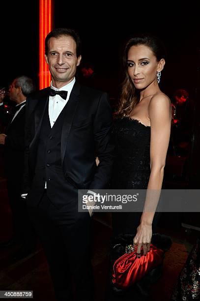 Massimiliano Allegri and Gloria Allegri attend the Fondazione Milan 10th Anniversary Gala on November 20 2013 in Milan Italy