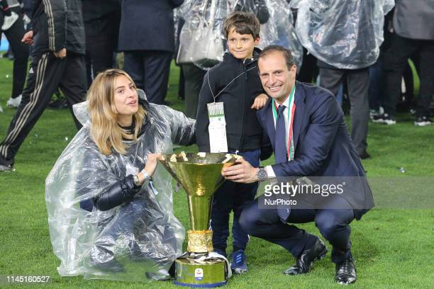 Massimiliano Allegri and his family with the trophy of Scudetto during the victory ceremony following the Italian Serie A last football match of the...
