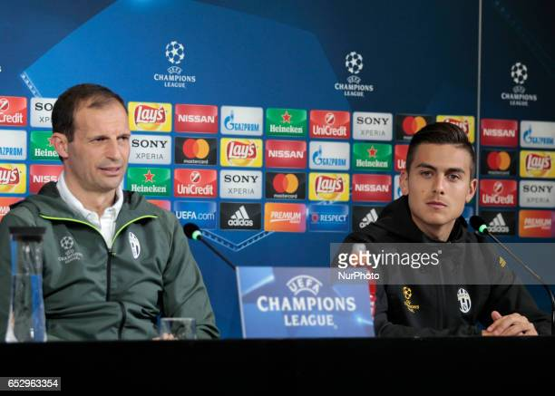 Massimiliano Allegri and Paulo Dybala during the press conference before Champions League match between Juventus v Porto in Turin on March 13 2016