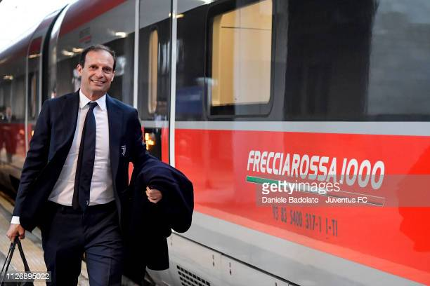 Massimiliano Allegri as the Juventus team travel to Bologna ahead of the Serie A match between Bologna FC and Juventus at JTC on February 23 2019 in...