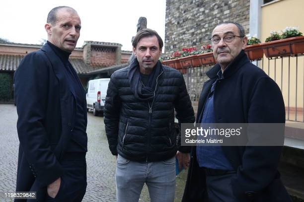 Massimiliano Allegri Carmine Gautieri manager of Triestina Calcio and Maurizio Sarri manager of Juventus during the Panchina D'Oro Prize award at...