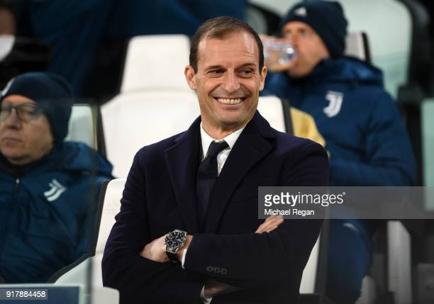 Massimiliano Allegri Coach of Juventus looks on prior to the UEFA Champions League Round of 16 First Leg match between Juventus and Tottenham Hotspur...