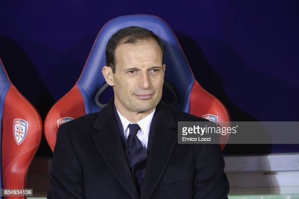 Massimiliano Allegri coach of Juventuslooks on during the Serie A match between Cagliari Calcio and Juventus FC at Stadio Sant'Elia on February 12...