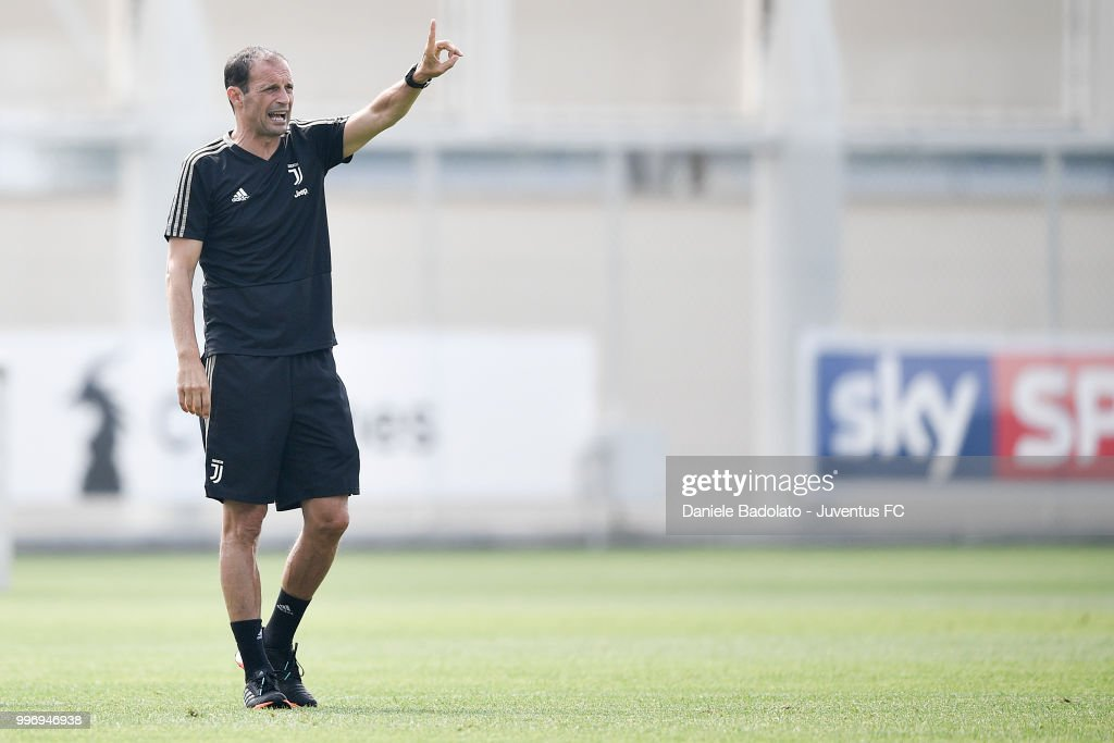 Massimiliano Allegri during a Juventus training session at Juventus Training Center on July 12, 2018 in Turin, Italy.