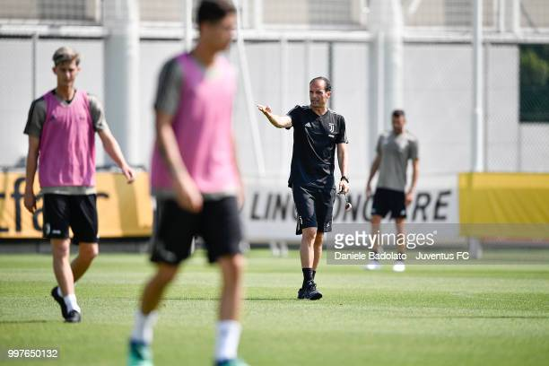Massimiliano Allegri during a Juventus training session at Juventus Training Center on July 13 2018 in Turin Italy
