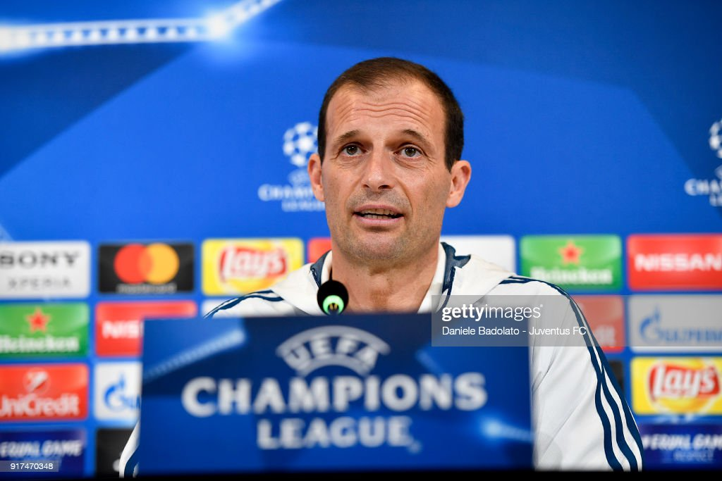 Massimiliano Allegri during the Champions League press conference at Allianz Stadium on February 12, 2018 in Turin, Italy.