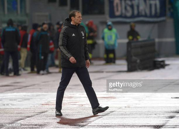 Massimiliano Allegri during the Italian Serie A football match between SS Lazio and FC Juventus at the Olympic Stadium in Rome on january 27 2019