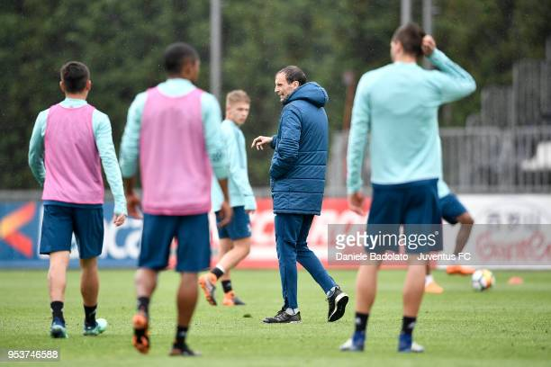 Massimiliano Allegri during the Juventus training session at Juventus Center Vinovo on May 2 2018 in Vinovo Italy