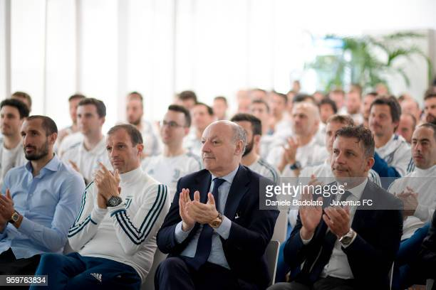 Massimiliano Allegri Giuseppe Marotta and Federico Cherubini attend the Juventus Seminar '5 Corso Di Aggiornamento E Formazione Tecnici 201718' at...