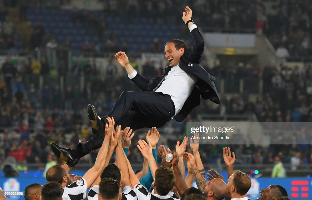 Massimiliano Allegri head coach of Juventus celebrate the victory after the TIM Cup Final between Juventus and AC Milan at Stadio Olimpico on May 9, 2018 in Rome, Italy.