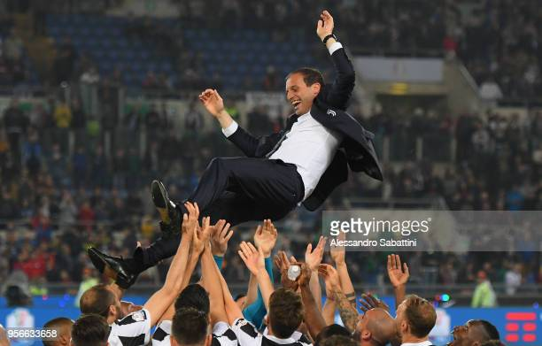 Massimiliano Allegri head coach of Juventus celebrate the victory after the TIM Cup Final between Juventus and AC Milan at Stadio Olimpico on May 9...