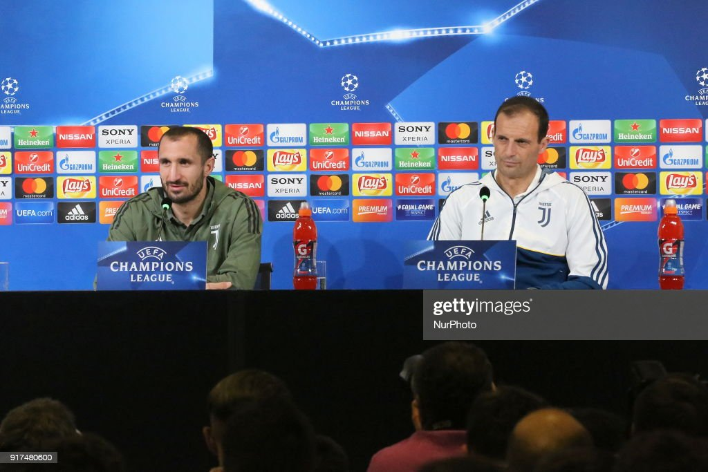 Massimiliano Allegri, head coach of Juventus FC and Giorgio Chiellini (Juventus FC) during the Juventus FC press conference on the eve of the first leg of the Round 16 of the UEFA Champions League 2017/18 between Juventus FC and Tottenham Hotspur FC at Allianz Stadium on 12 February, 2018 in Turin, Italy.