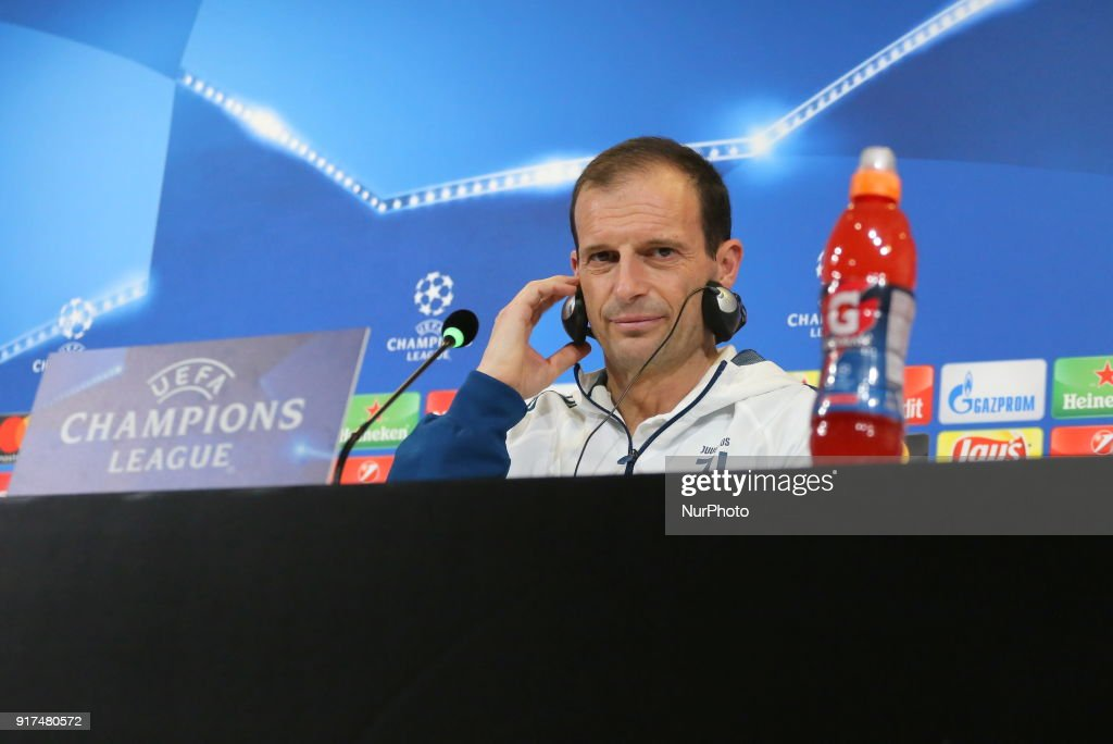 Massimiliano Allegri, head coach of Juventus FC, during the Juventus FC press conference on the eve of the first leg of the Round 16 of the UEFA Champions League 2017/18 between Juventus FC and Tottenham Hotspur FC at Allianz Stadium on 12 February, 2018 in Turin, Italy.