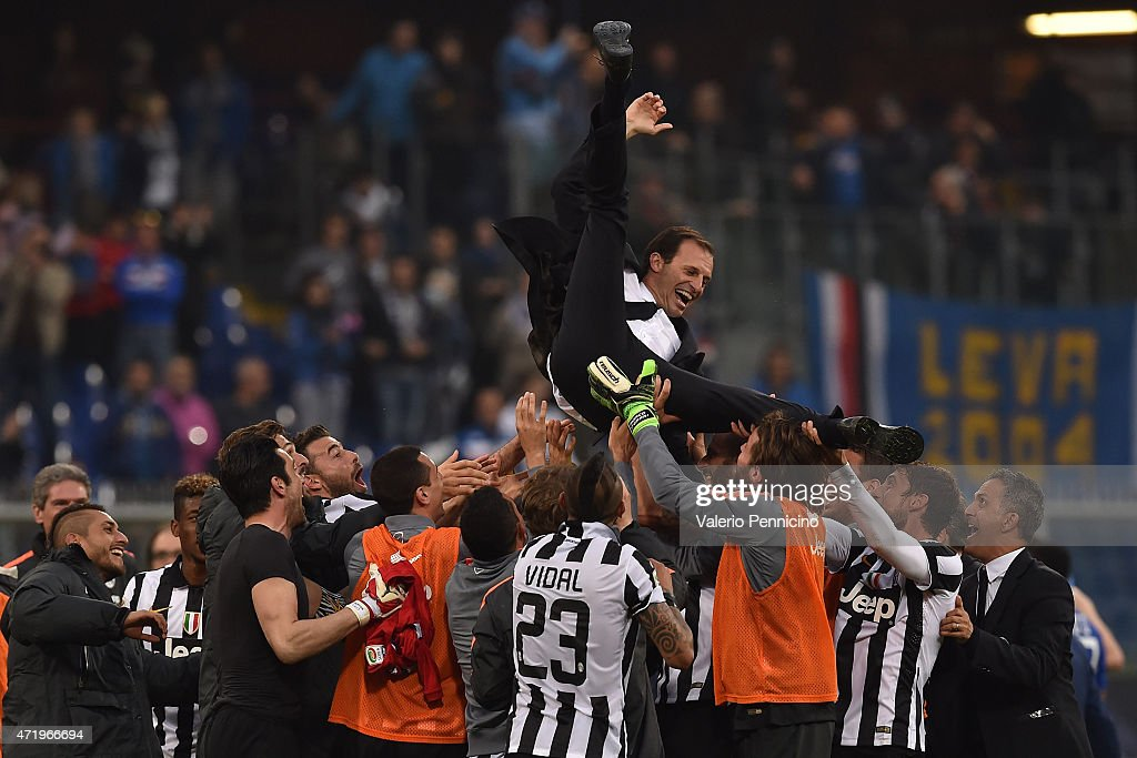 Massimiliano Allegri head coach of Juventus FC is lifted by his players at the end of the Serie A match between UC Sampdoria and Juventus FC at Stadio Luigi Ferraris on May 2, 2015 in Genoa, Italy.