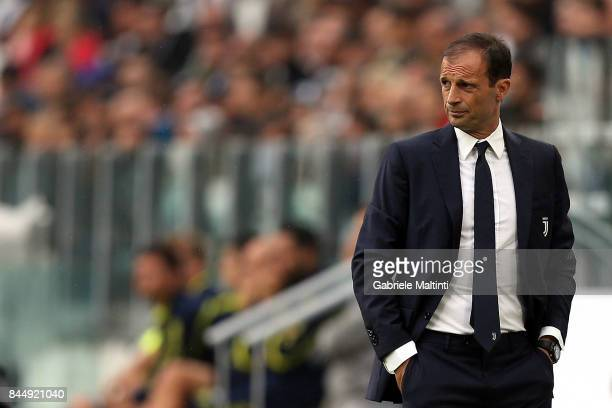 Massimiliano Allegri head coach of Juventus FC looks on during the Serie A match between Juventus and AC Chievo Verona on September 9 2017 in Turin...