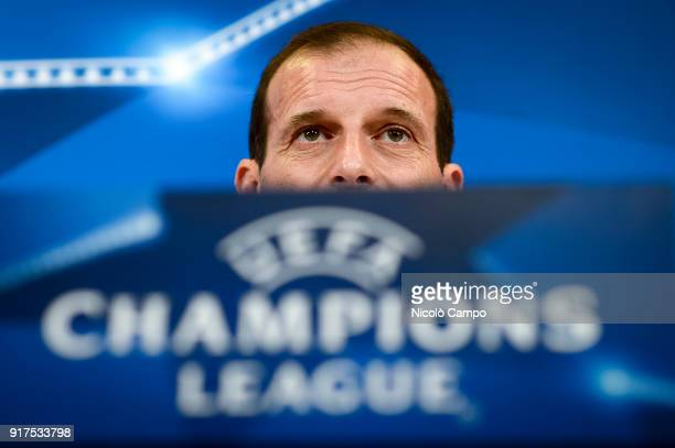 Massimiliano Allegri head coach of Juventus FC speaks during a Juventus FC press conference on the eve of the UEFA Champions League football match...