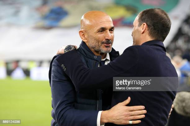 Massimiliano Allegri head coach of Juventus FC talks with Luciano Spalletti head coach of FC Internazionale before the start of the Serie A football...