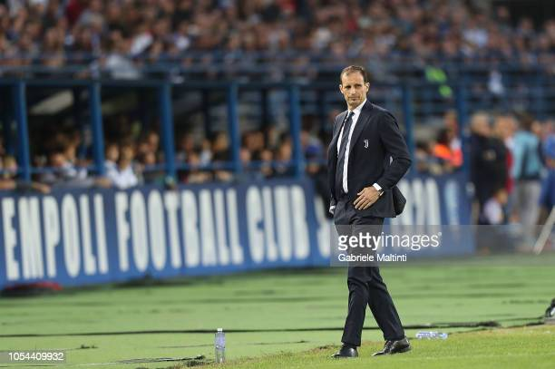 Massimiliano Allegri head coach of Juventus gestures during the Serie A match between Empoli and Juventus at Stadio Carlo Castellani on October 27...