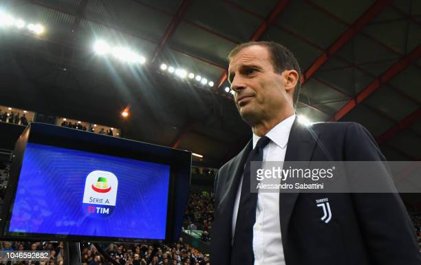Massimiliano Allegri head coach of Juventus looks on during the Serie A match between Udinese and Juventus at Stadio Friuli on October 6 2018 in...