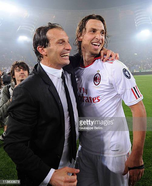 Massimiliano Allegri head coach of Milan and Zlatan Ibrahimovic of Milan celebrate the victory after the Serie A match between AS Roma and AC Milan...